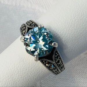 Jewelry - 2.45 Ct VVS1 London Blue Moissanite Ring, Sz 6